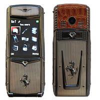 Мобильный телефон Vertu Ferrari F510 (2 сим карты) в металлическом корпусе, элитный телефон раскладушка vertu