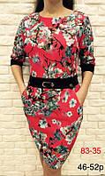 Платье из трикотажа свободного покроя с поясом принт цветы сакура, только опт