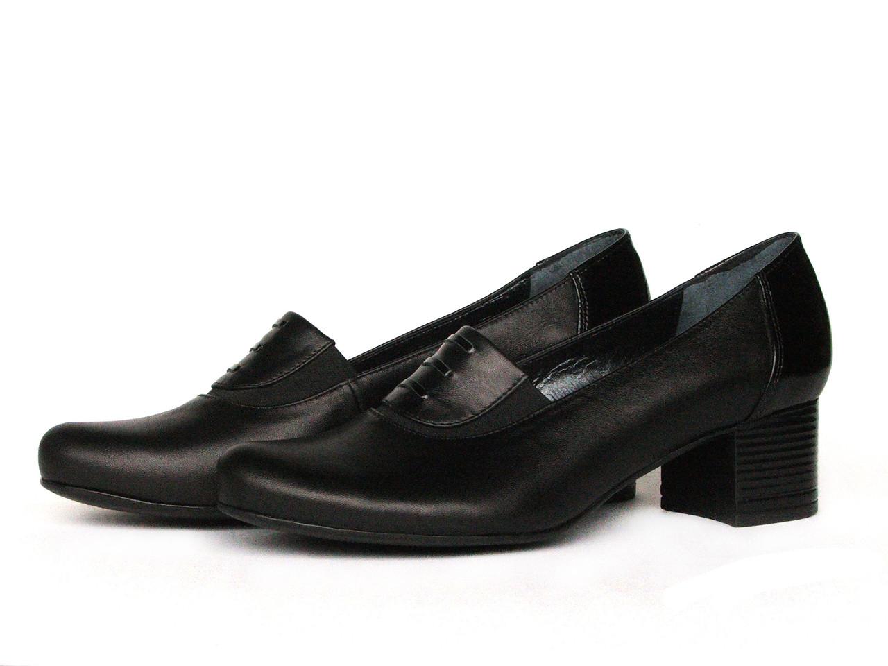 Женские черные туфли на устойчивом каблуке 4 см
