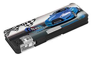 """Пенал школьный 2 отделения на магнитах для мальчика Cool For School CFS85552 """"Racing.Blue Car"""""""