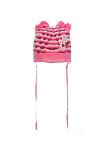 Яркая, трикотажная шапочка для девочки на завязках, фото 2