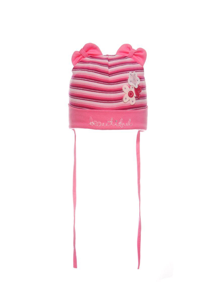 Яркая, трикотажная шапочка для девочки на завязках