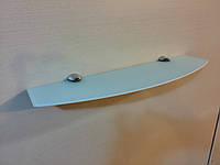 Полка стеклянная фигурная 4 мм белая 50 х 12 см, фото 1