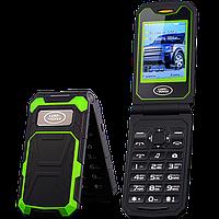 Land Rover F999. Батарея 2800 мАч, 2 SIM, FM, MP3, громкий динамик! Противоударный телефон-раскладушка!