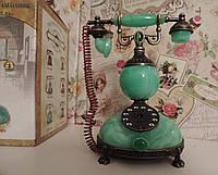 """Зажигалка  """"Малахитовый ретро телефон"""" - газовая пьезо. Настольная, сувенирная, подарочная., фото 1"""