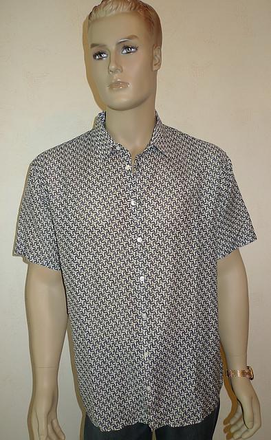 Рубашка мужская хлопок-шелк с коротким рукавом