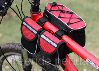 Велосумка надрамная двойная красный верх (c дождевиком)