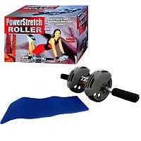 Тренажер колесо для пресу Power Stretch Roller / Тренажер-колесо для пресса двойного действия с ковриком