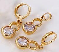 Набор серьги, кулон, цепочка позолота Gold Filled (GF141)