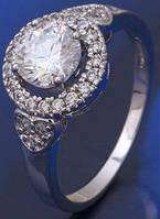 Кольцо белая позолота с цирконами размер 17 (GF192)