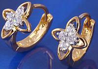 Серьги колечки позолота gold filled цирконы (gf529