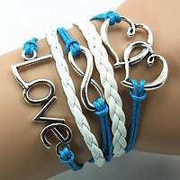 Браслет плетений 5 в 1 Love (Кохання), біло-голубий / Браслет плетеный 5в1 Любовь бело-голубой (tb916)