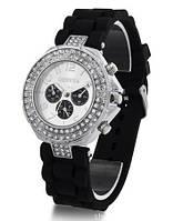 Годинник жіночий зі стразами Geneva Crystal Чорний / Часы наручные женские со стразами Женева Кристал Черные