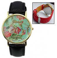 Часы Женева Цветы Мята красный ремешок