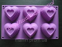 Форма силиконовая  Сердце рифленное планшет ровный 6 шт, фото 1