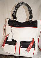 Женская сумка Fika Montino Экокожа Белая-черная- красная, фото 1