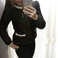Куртка женская из плащевки с карманами на молнии P958
