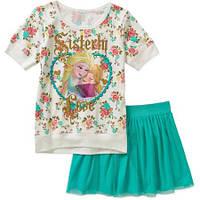 Костюм - футболка и юбка-шорты Холодное сердце, на 6 лет