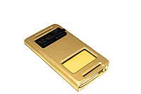 Кожаный чехол книжка для HTC One M7 801e золотистый