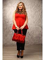 Женская красная туника больших размеров (р. 48-72) арт. Шерил