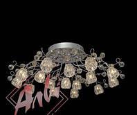 Люстра галогенная на 16 лампочек с подсветкой для зала, большой комнаты