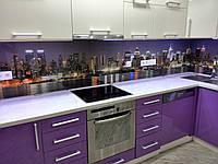 Кухонный стеклянный фартук город 2