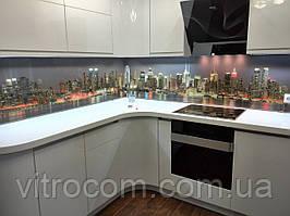 Кухонний скляний фартух місто 4