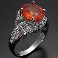 Кольцо серебро 925 пробы  оранжевый сапфир 2,70 карат, фото 1