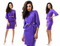 Платье женское до колен ткань креп костюмка+ремень в комплекте