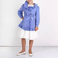 Куртки ветровка плащ для девочки, двубортный, ворот присборен, по низу оборка дев. сиреневый 100%полиэстер, по