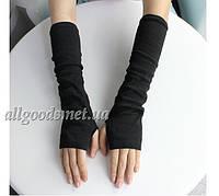 Митенки длинные перчатки без пальцев черные