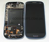 Дисплей с тачскрином и рамкой для Samsung i9300, I9305, I747, R530 (Galaxy S3) черный (Оригинал)