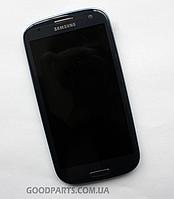 Дисплей с тачскрином и рамкой для Samsung i9300, I9305, I747, R530 (Galaxy S3) синий (Оригинал)