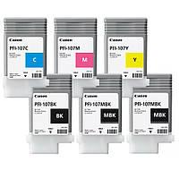 Картриджи PFI-107 в комплекте для плоттера  iPF670/ 680/ 685/ 770/ 780/ 785, 130 мл