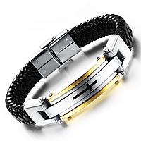 """Кожаный браслет со стальными вставками """"Крест"""", фото 1"""