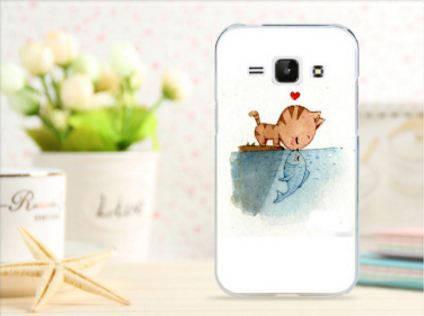 Чехол для Samsung Galaxy J1/ J100 панель накладка с рисунком любовь кота и рыбки, фото 2