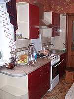 Кухня бордо глянец