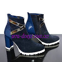 Женские демисезонные синие ботинки на устойчивом каблуке, замш/ лаковый кожзам.36 размер, фото 1