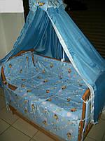 """Постельный набор в детскую кроватку """"Винни Пушек"""" голубой 8 эл."""