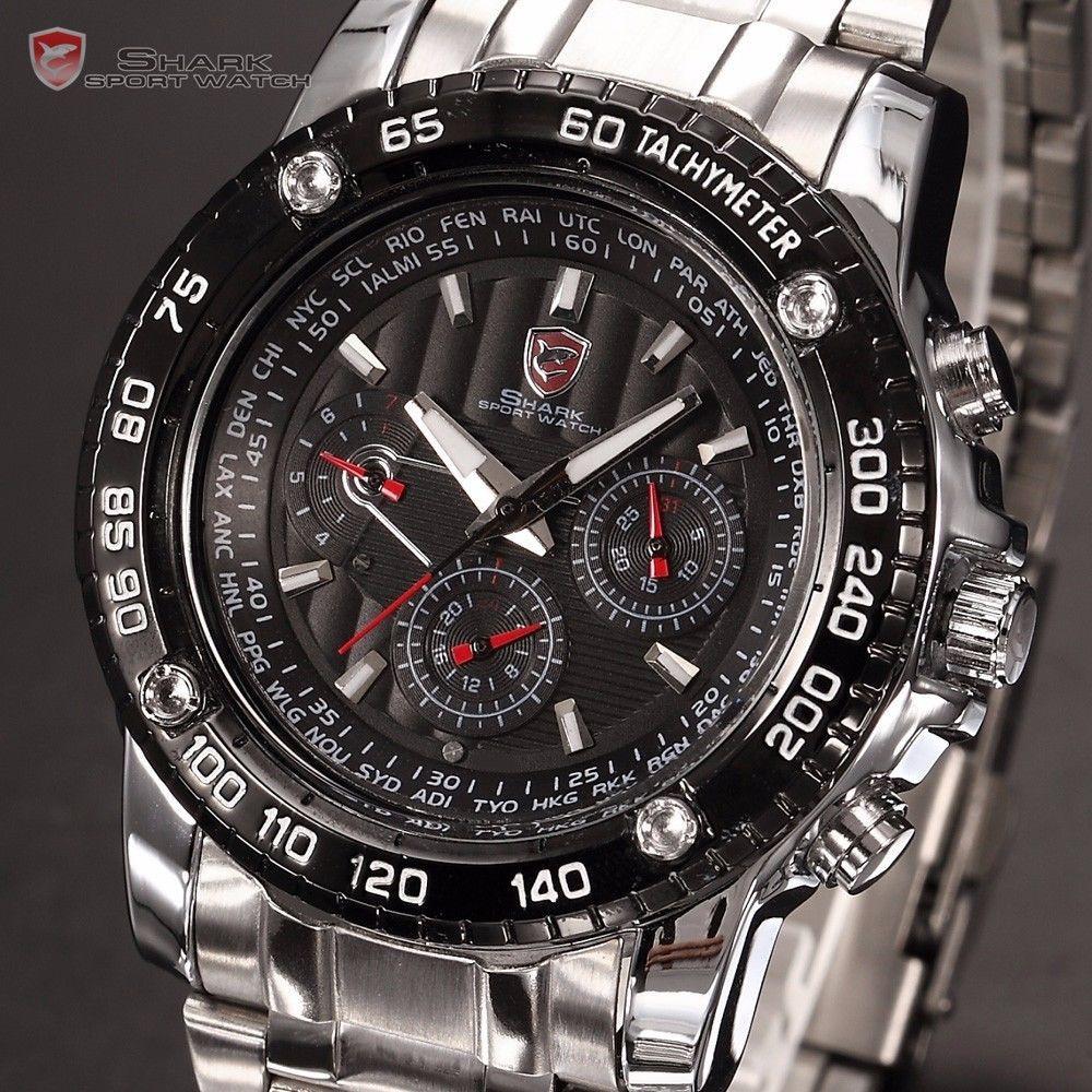 Мужские часы Luxury Shark Mens Black Army Date Day