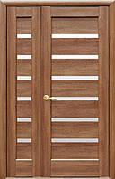 Комплект дверей двустворчатых Линнея с сатином от Новый стиль (венге new, зол.ольха, каштан, ясень, grey)