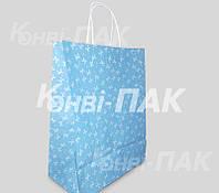 """Пакет с кручеными ручками """"Бантик голубой"""" 335х260140"""