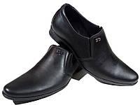 Туфли мужские классические  натуральная кожа черные на резинке (Г-1), фото 1