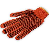 Перчатки х/б с ПВХ точкой (2сорт, Китай), цвет оранжевый, размер ХL