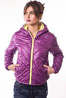 Короткая женская куртка К-20 стильная из итальянской плащевки Лаке.
