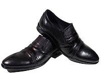 Туфли мужские классические  натуральная кожа черные на резинке (sart 417), фото 1