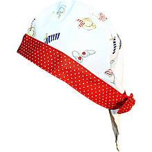 Головные уборы летние бандана с красными завязками, мелкий рисунок дев. белый 100 % хлопок 53500-893100 MaxiMo