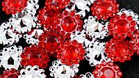 Стразы (30 штук) красные Пластик 16мм