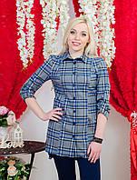 Рубашка удлиненная женская сер-голубой
