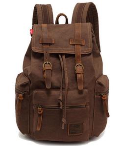 Мужской рюкзак с кожаными ремешками